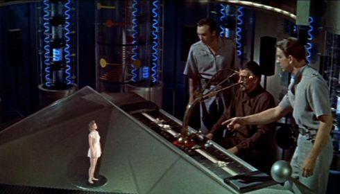 Anne Francis, Warren Stevens, Walter Pidgeon und Leslie Nielsen in «Forbidden Planet»