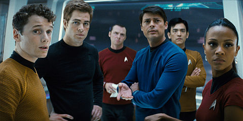 Anton Yelchin, Chris Pine, Simon Pegg, Karl Urban, John Cho und Zoë Saldana in «Star Trek»