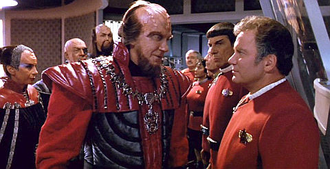 Klingonen sowie Doohan, Nichols, Takei, Kelley, Nimoy und Shatner in «Star Trek VI: The Undiscovered Country»