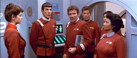 Kirstie Alley, Leonard Nimoy, William Shatner, DeForest Kelley, George Takei und Nichelle Nichols in «Star Trek II: The Wrath of Khan»