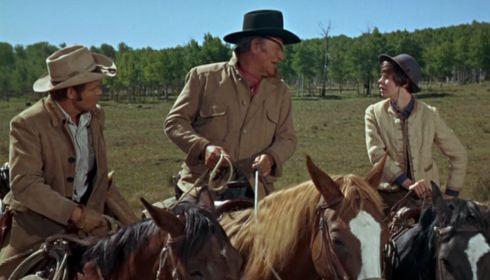 Glen Campbell, John Wayne und Kim Darby in «True Grit»