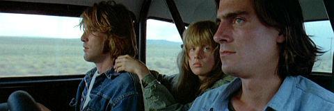 Dennis Wilson, Laurie Bird und James Taylor in «Two-Lane Blacktop»